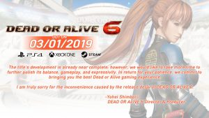 Dead or Alive 6 has been delayed to 1st March 2019
