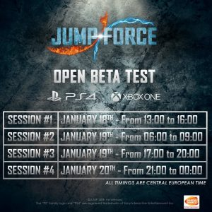Jump Force: open beta confirmed from January 18 to January 20