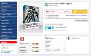 The swiss online store WorldofGames lists Assassin's Creed Empire and sets the release date for October on PC, PS4 and Xbox One